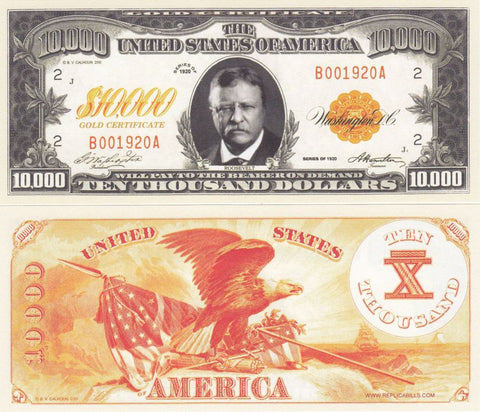 $10,000 Gold Certificate Novelty Currency Bill