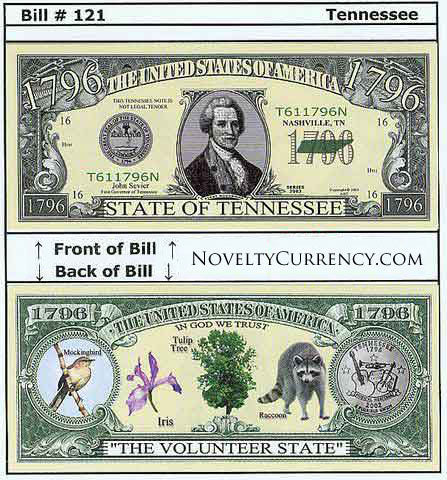 Tennessee - The Volunteer State - Commemorative Novelty Bill