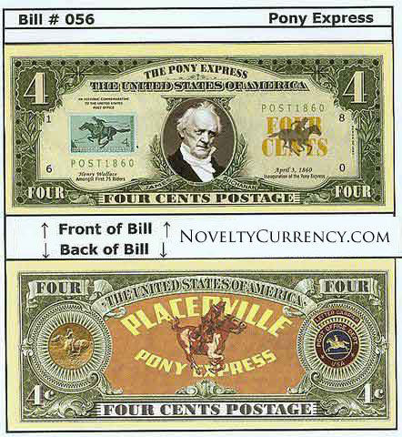 Pony Express Mail Novelty Currency Bill