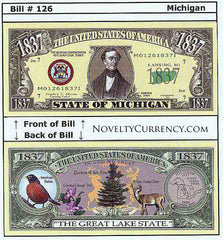 Michigan - The Great Lake State - Commemorative Novelty Bill