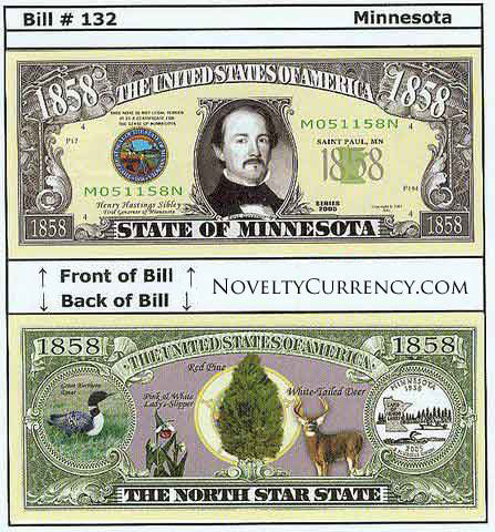 Minnesota - The North Star State - Commemorative Novelty Bill