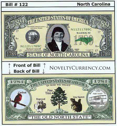 North Carolina - The Old North State - Commemorative Bill