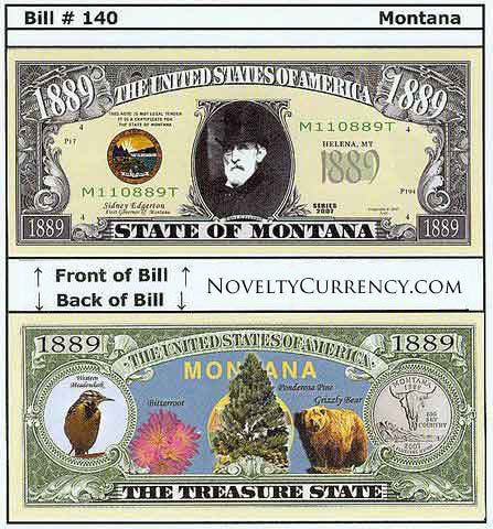 Montana - The Treasure State - Commemorative Novelty Bill