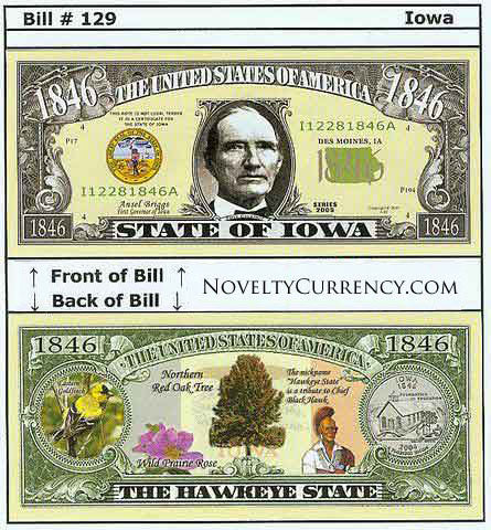 Iowa - The Hawkeye State - Commemorative Novelty Bill
