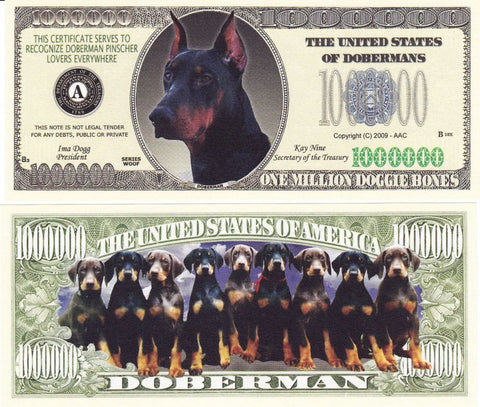 Doberman Novelty Currency Bill