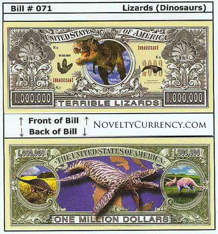 Dinosaurs Lizards Novelty Currency Bill