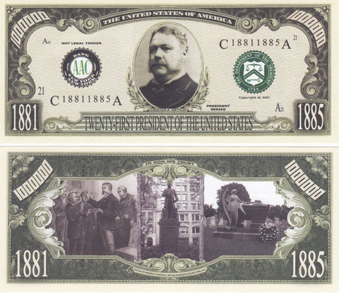 Chester Arthur - 21st President Of The United States Bill