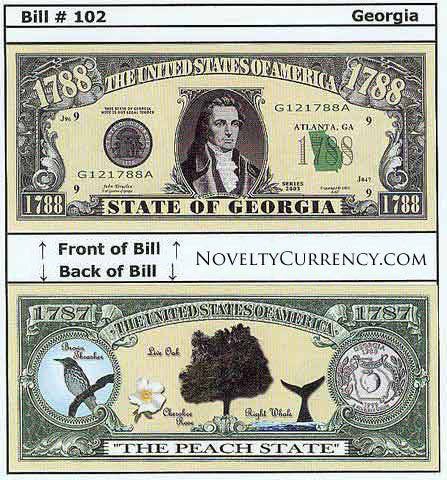 Georgia - The Peach State - Commemorative Novelty Currency Bill