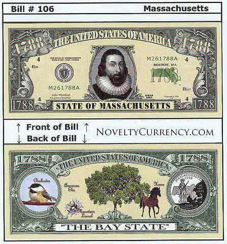 Massachusetts - The Bay State - Commemorative Novelty Bill