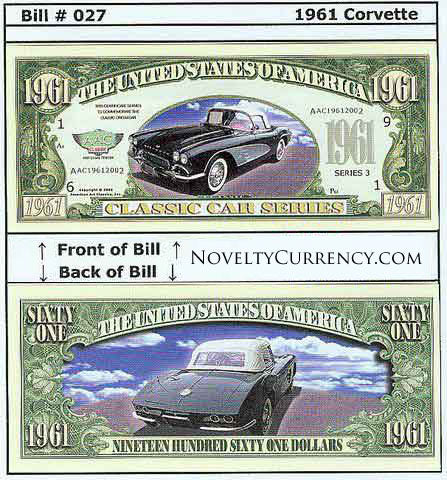 1961 Corvette Stingray Convertible Car Novelty Currency Bill