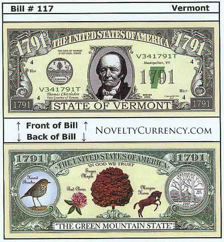 Vermont - The Green Mountain State - Commemorative Novelty Bill