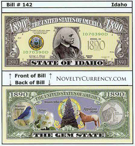 Idaho - The Gem State - Commemorative Novelty Currency Bill