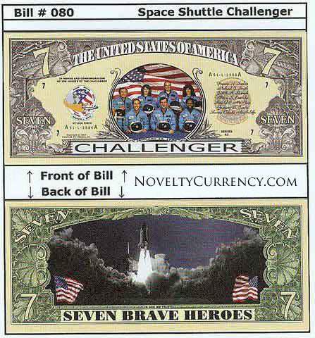 Shuttle Challenger Novelty Currency Bill
