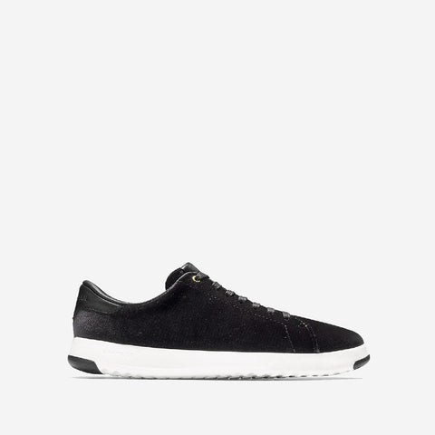 Women's Grandpro Tennis Lace Up Trainer Black Velvet