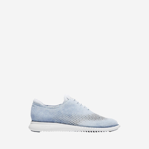 Zen Blue Suede/Nimbus Cloud 2.Zerogrand Laser Wingtip Oxford Lined Lace Up Shoe