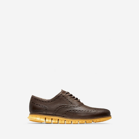 Men's ZERØGRAND Wingtip Oxford Lace Up Shoe Brown