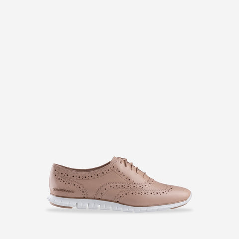 Women's ZERØGRAND Wing Oxford Closed Hole Lace up Shoe Mahogany Rose