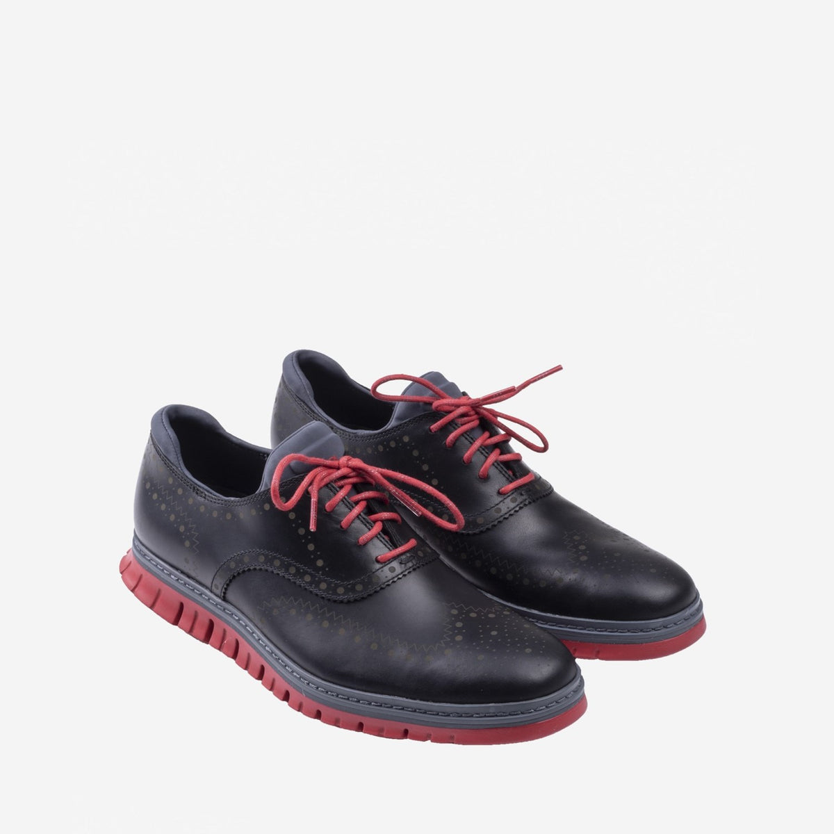 Men's ZERØGRAND Wingtip Oxford WP Black/Tango Red