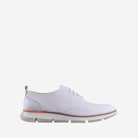 Women's 4.ZERØGRAND Stitchlite Oxford Trainer White/Vibrant Orange