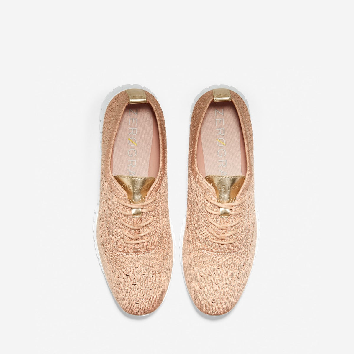 Women's ZERØGRAND Wingtip Oxford Mahogany Rose Metallic/White