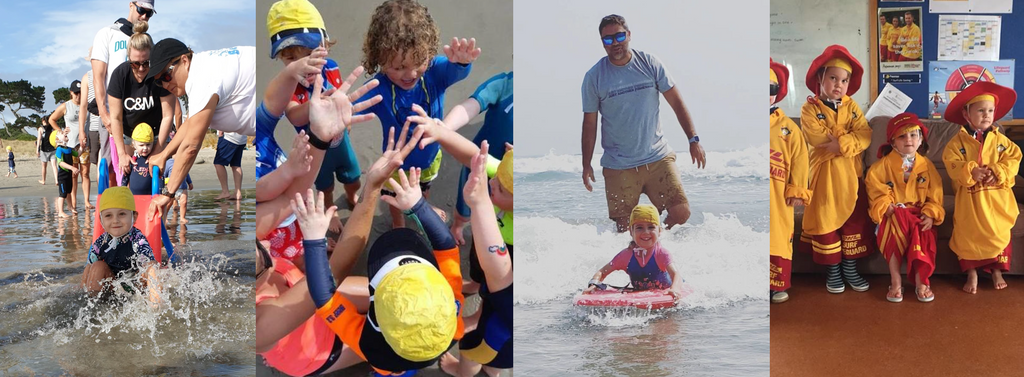 A collection of images of Beach Kidz children and caregivers having fun