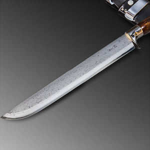 "HONMAMON ""AZUMASYUSAKU"" Sword Hatchet 300mm (11.8"") for Outdoor Activities, Blade Edge : Aogami Steel, Damascus Pattern Double Bevel"