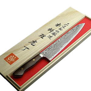Damascus Chef Knife 240mm(abt 9.4 Inch) with Ironwood Handle , Powder HSS R2, Shigeki Tanaka