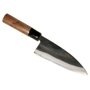 """MOTOKANE"" Deba Hocho (Kitchen Knife) Blade Edge : Aogami Steel 1, Kurouchi, Double Bevel"