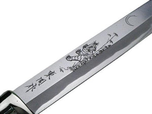"HONMAMON ""AZUMASYUSAKU"" Hunting Knife with Carving of Tiger 240mm Japanese Outdoor Knife"