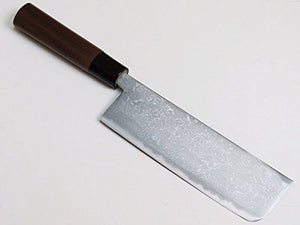 Nakiri Kitchen Knife 165mm, Damascus Pattern, Aogami Steel 33layer Double Bevel, Japan