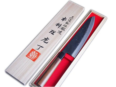"HONMAMON ""MOTOKANE"" Wa-Gyuto 240mm in Wooden Case , Double Bevel, Aogami Steel, Tosa Kurouchi"