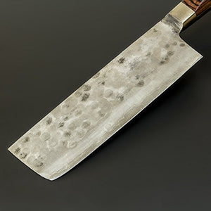 """TOHKO"" Nakiri Hocho(Kitchen Knife for Vegetables) 165mm(abt 6.5 Inch), Blade Edge : ""Shirogami Steel"" Sandwiched, Hammered patten"