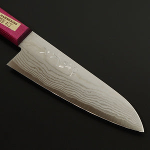 """SHIGEKI TANAKA"" VG10 Laminated Santoku Kitchen Knife with Pink and Blue Handle"