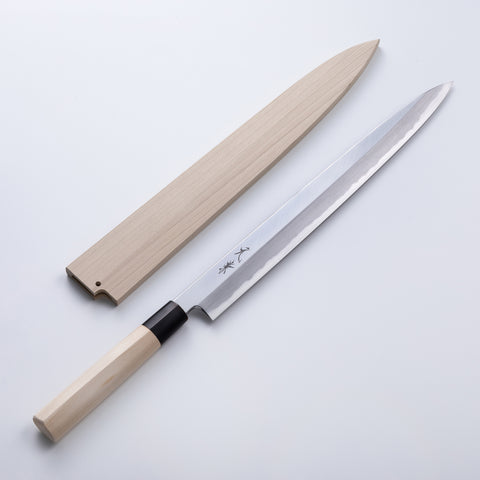 "HONMAMON ""MOTOKANE"" Sashimi Knife  Shirogami Steel No.2 with Wooden Case"