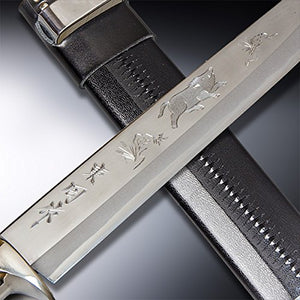 "HONMAMON ""AZUMASYUSAKU"" Hunting Knife with Carving of a Boar 240mm Japanese Outdoor Knife"