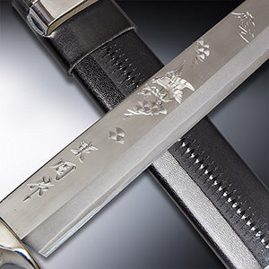 "HONMAMON "" AZUMASYUSAKU"" Hunting Knife Carving of Hawk 240mm Japanese Outdoor Knife"
