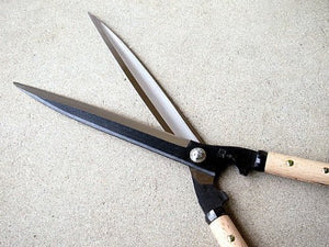 """SAHO"" Hedge/Gardening Shears 270mm(10.6""), with Short Wooden Handle, Aogami Steel, Japan"