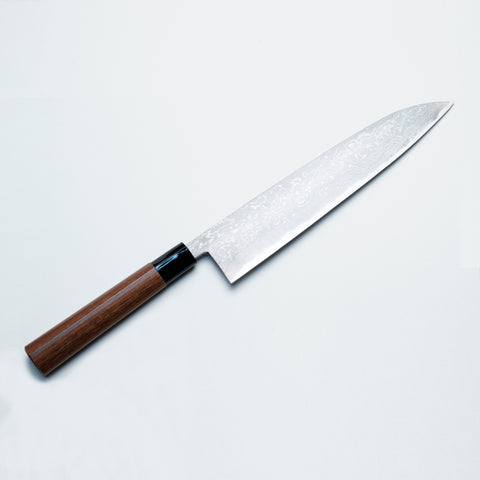 """HONMAMON"" Chef's Knife  Japanese Handle Aogami Steel Damascus Double Bevel Gyuto"