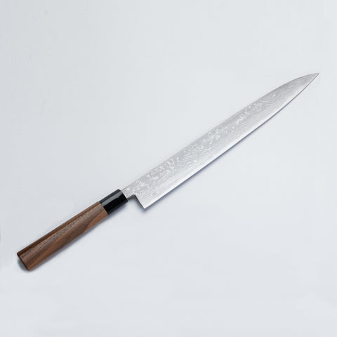 """HONMAMON"" Sashimi Knife Aogami Steel No.2 Damascus with Walnut Handle"