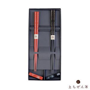 """SASAMEZAKURA""(SMALL CHERRY BLOSSOMS) Meoto-Bashi Chopsticks Set for Married Couples with Rest"