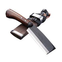 AZUMASYUSAKU Hatchet (Outdoor Knife) with Case, Kurouchi, Double Bevel.