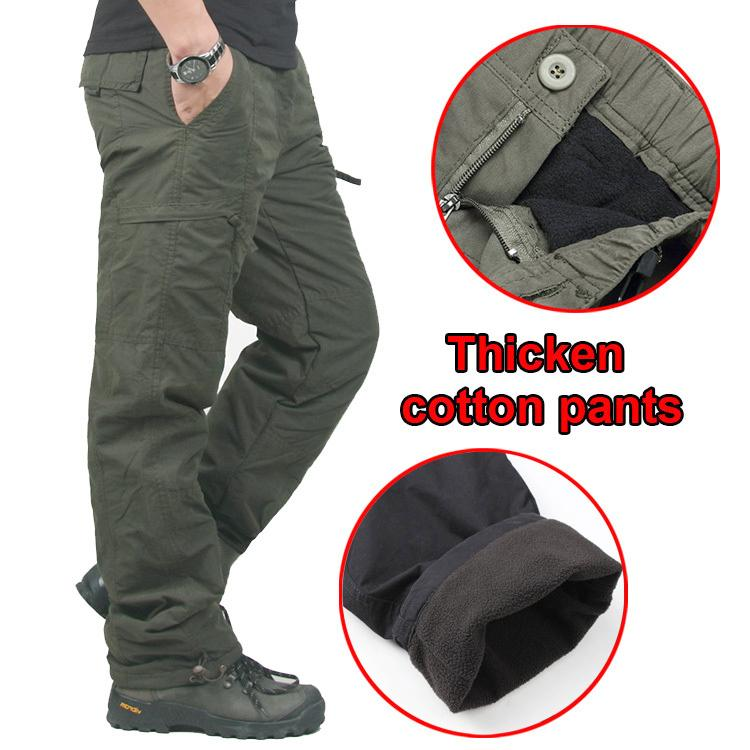 Winter Wear Double Layer Thick Cotton Outdoor Men's Pants