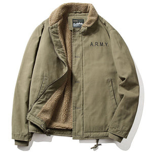 Men's Artificial Lamb Cashmere Inner Army Letter Jacket