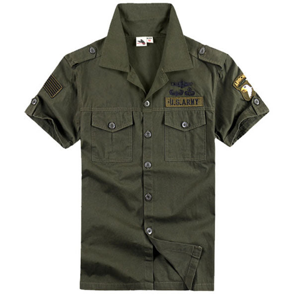 100% Cotton Airborne Army Style Stand Collar Men's T-Shirt