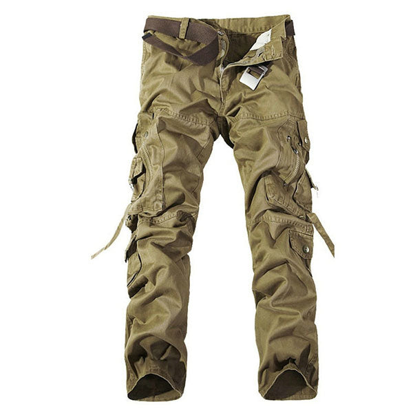 Fashion Multi-Pocket Solid Mens Cargo Pants Size 28-40