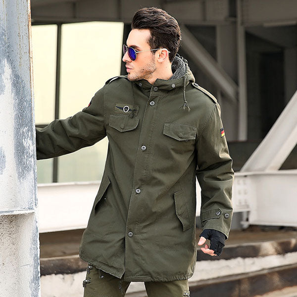 Army Style 100% Cotton Men's Trench Coat With Velvet Inside