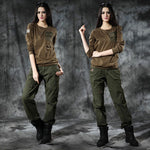 Army Style Long Sleeve Round Neckline Women Shirt
