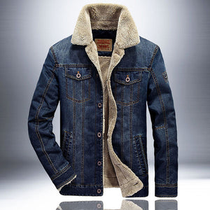 High Quality Men's Denim Jacket With Velvet Inside