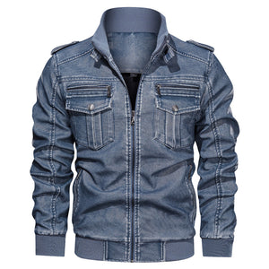 Retro PU Leather Men's Jacket With Velvet Inside