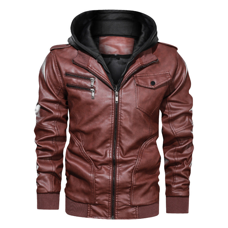 Classic Daily Wear Men's PU Jacket EU SIZE With Romovable Hat